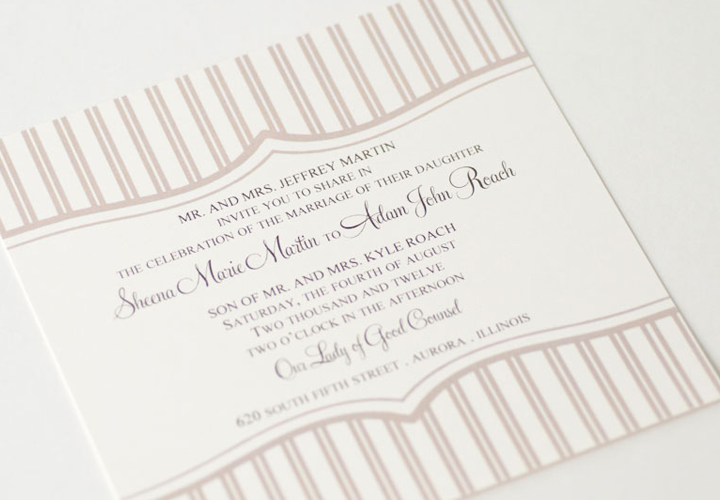 Wedding invitation soft pink stripe